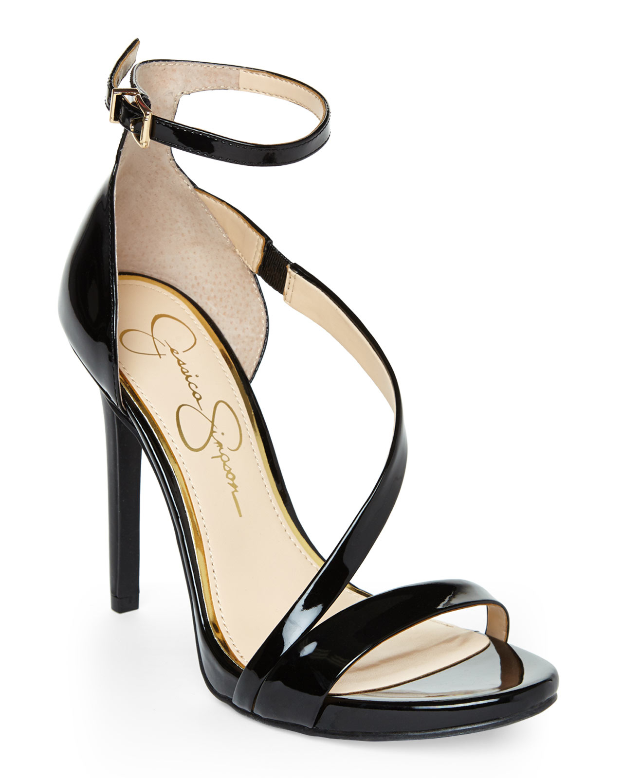 e0fd01419062 Lyst - Jessica Simpson Black Patent Rayli Sandals in Black