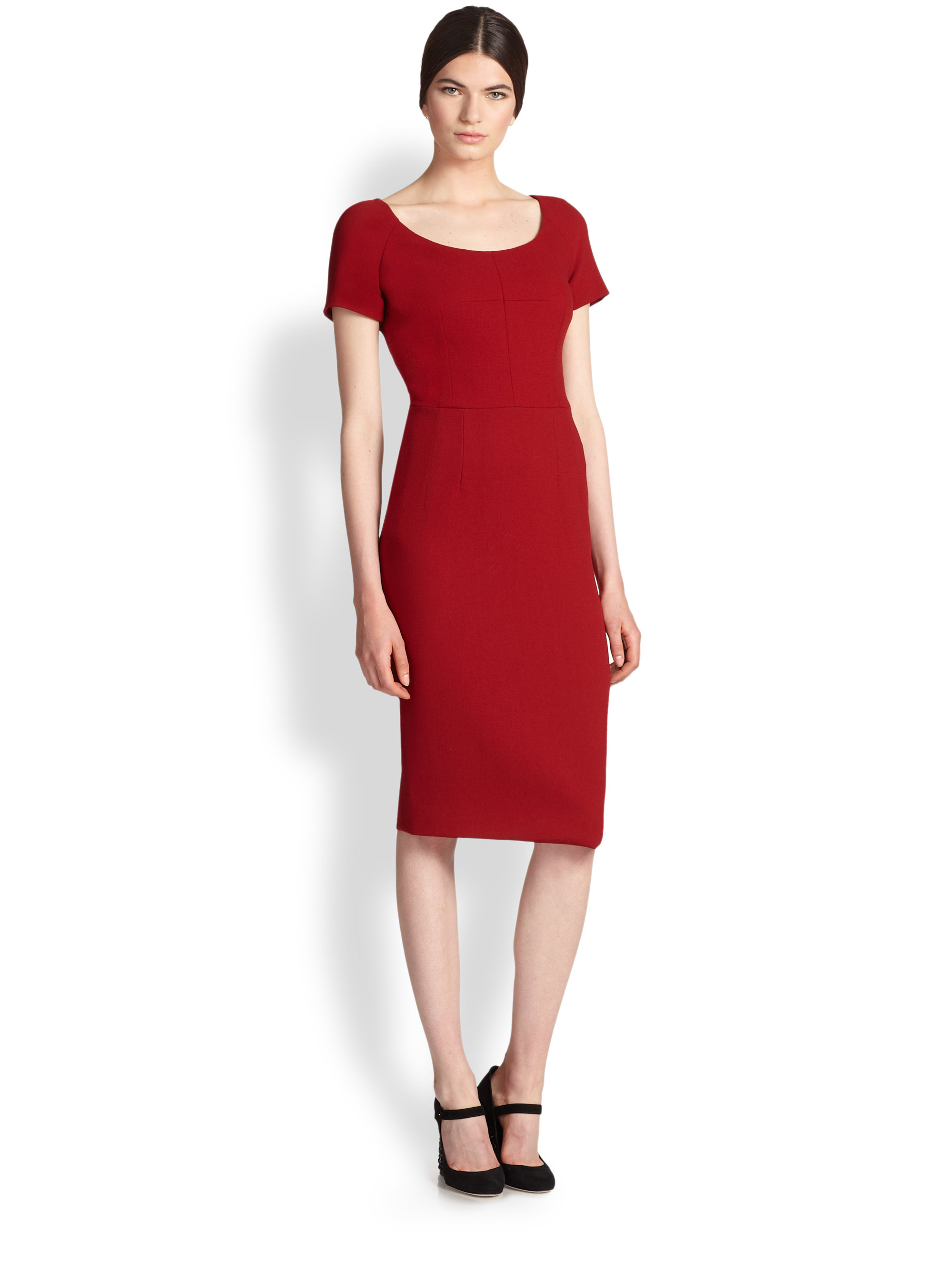Red dress wool catalog photo
