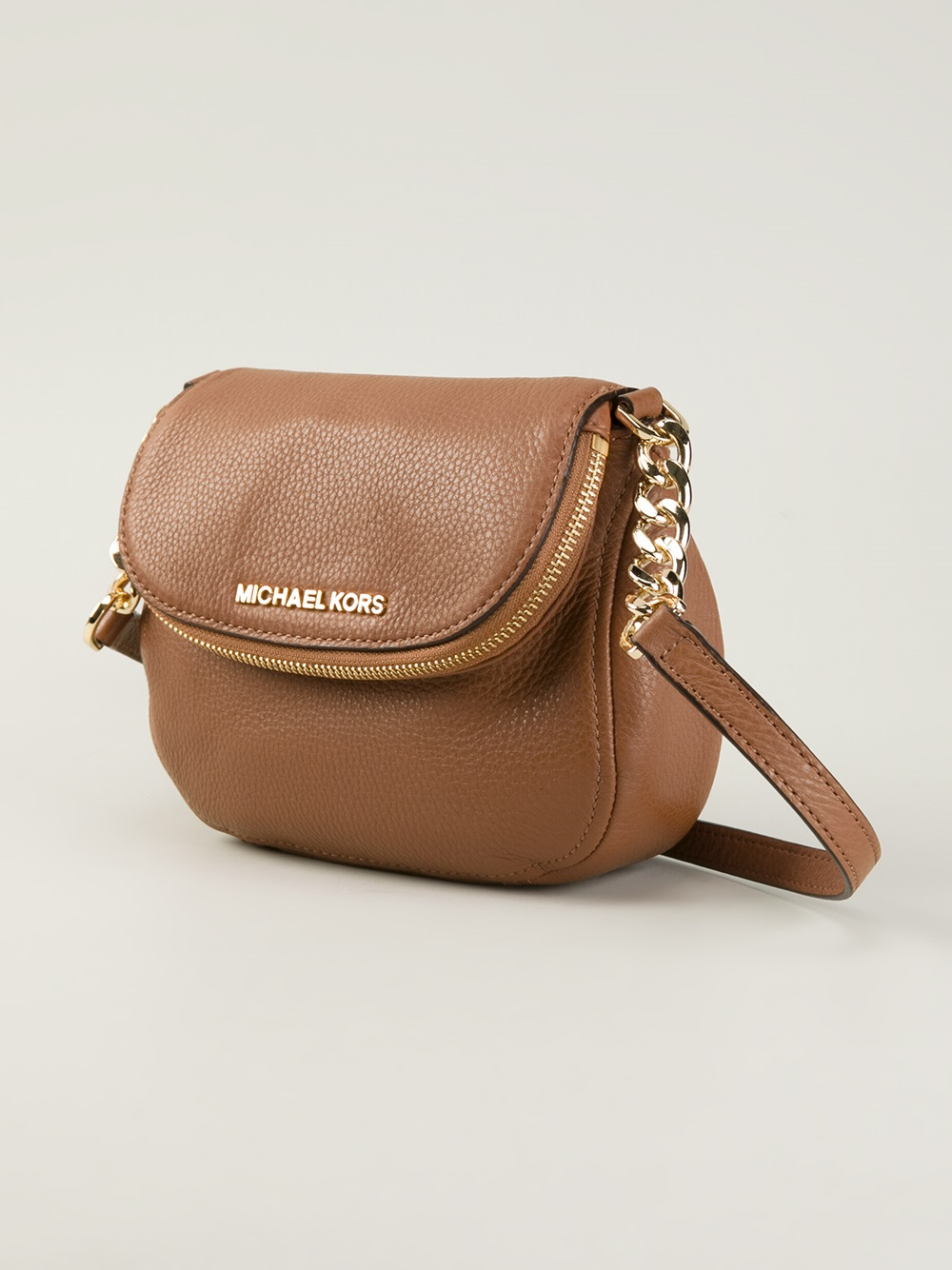 3cefb9f36be1 ... shop lyst michael michael kors bedford leather cross body bag in brown  512fa fcc88