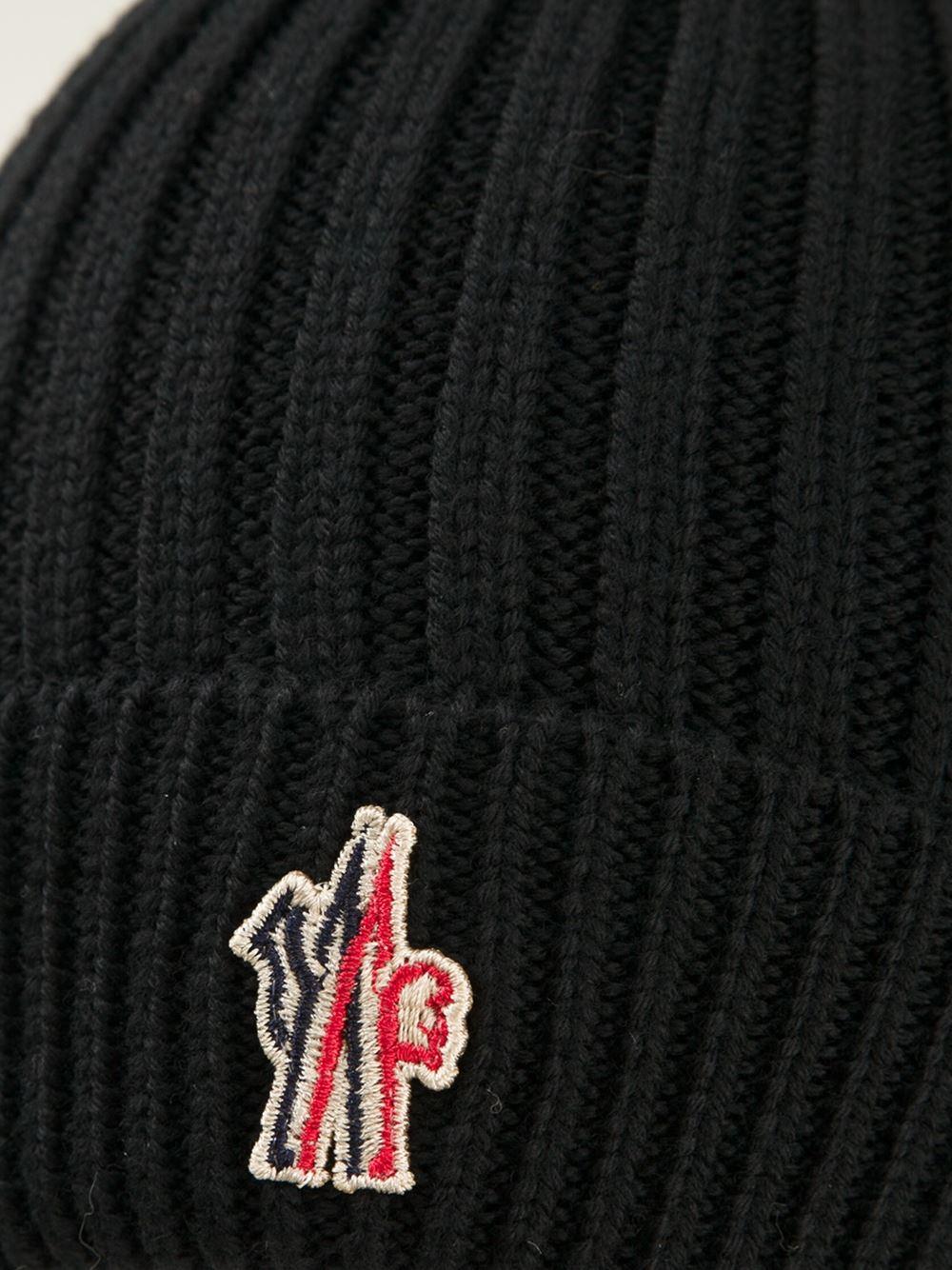 032c1f5175b22 Moncler Grenoble Logo Ribbed Beanie in Black for Men - Lyst