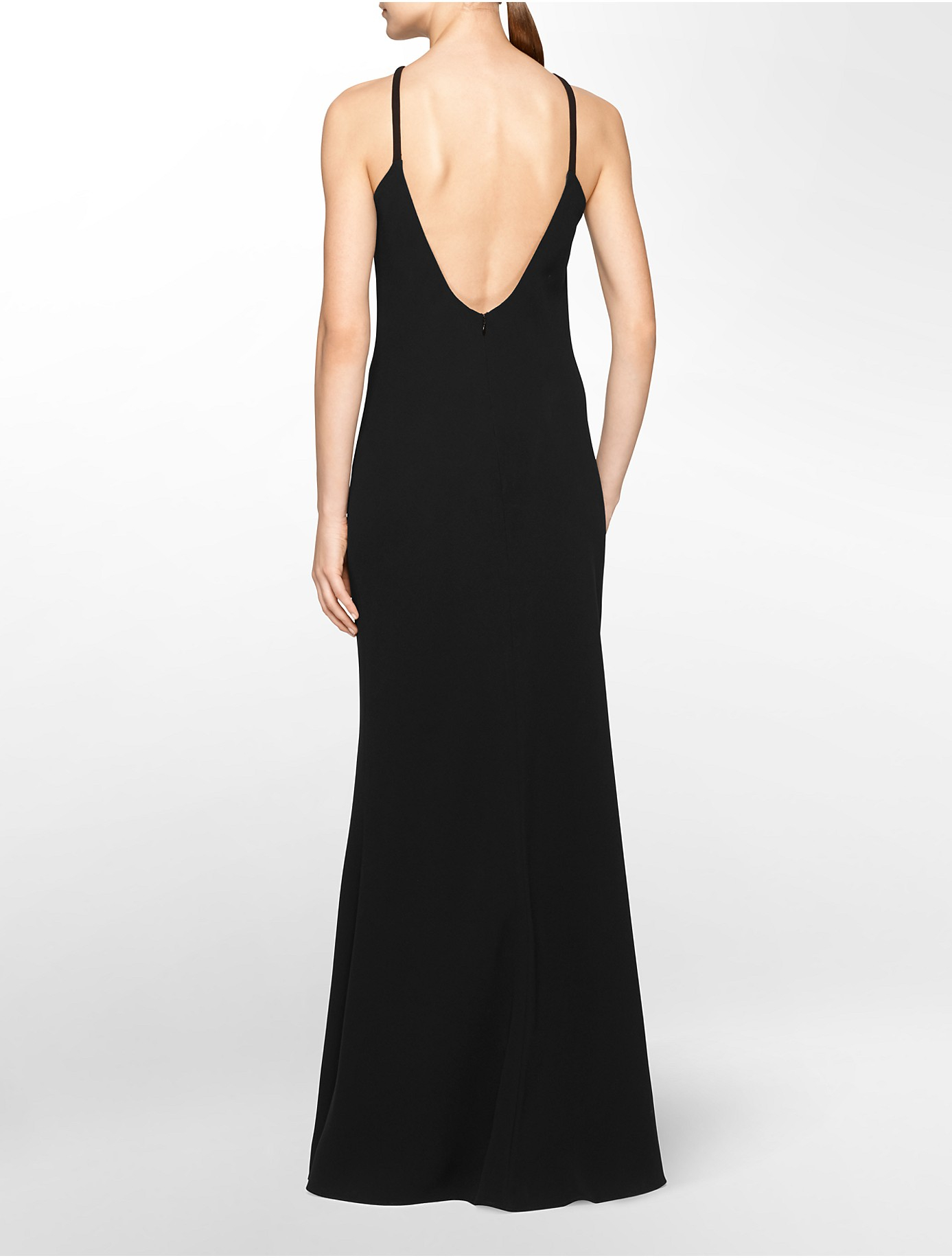Calvin klein White Label Low Back Halter Neck Gown in Black | Lyst
