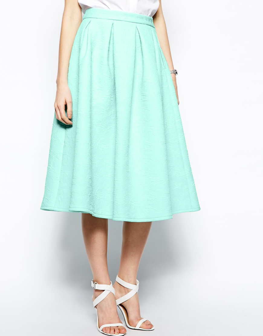 Asos Premium Prom Midi Skirt In Bonded Crepe in Green | Lyst