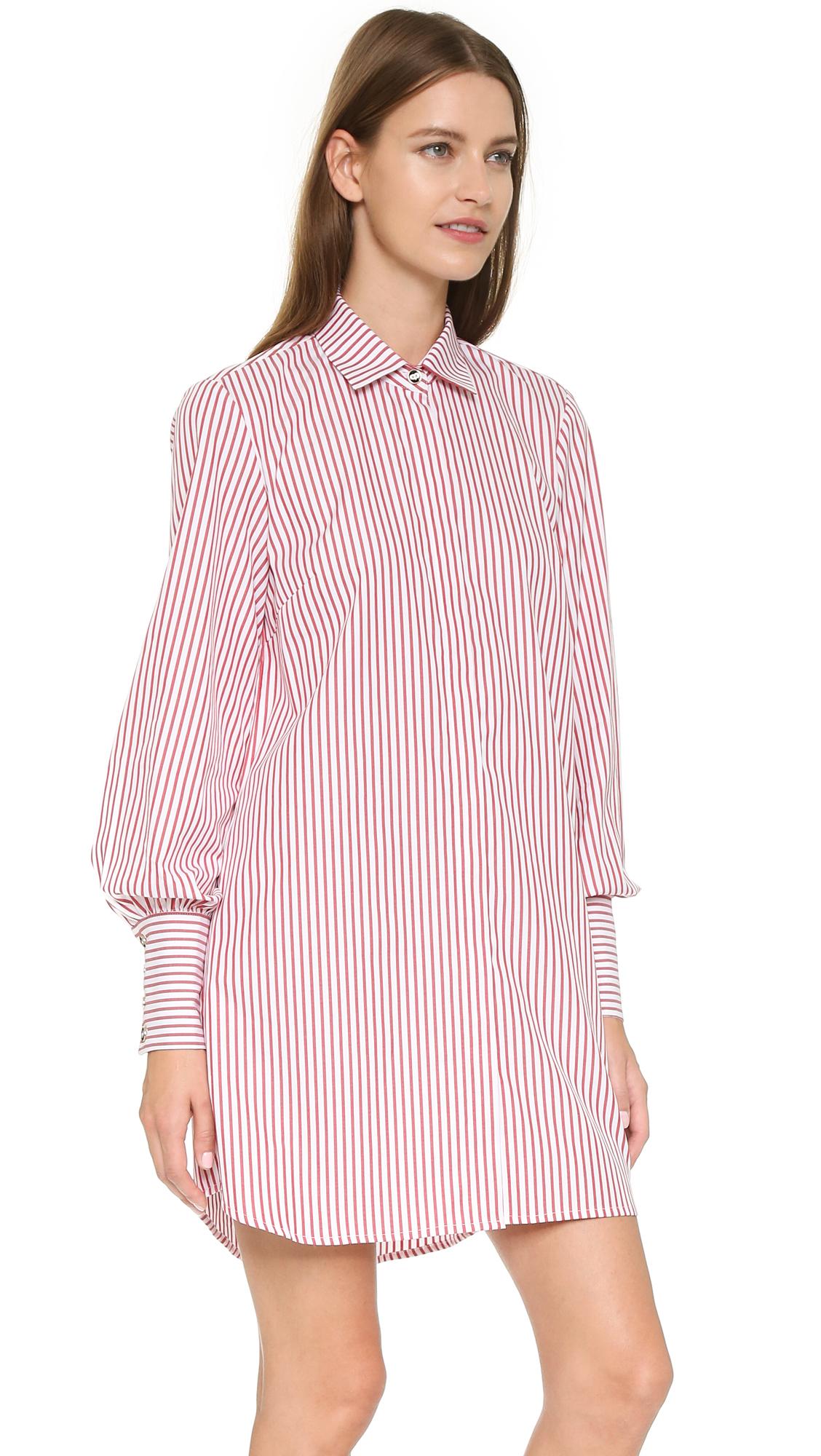 67a927b825f Caroline Constas Boyfriend Chemise Shirtdress - Red Stripe in Red - Lyst