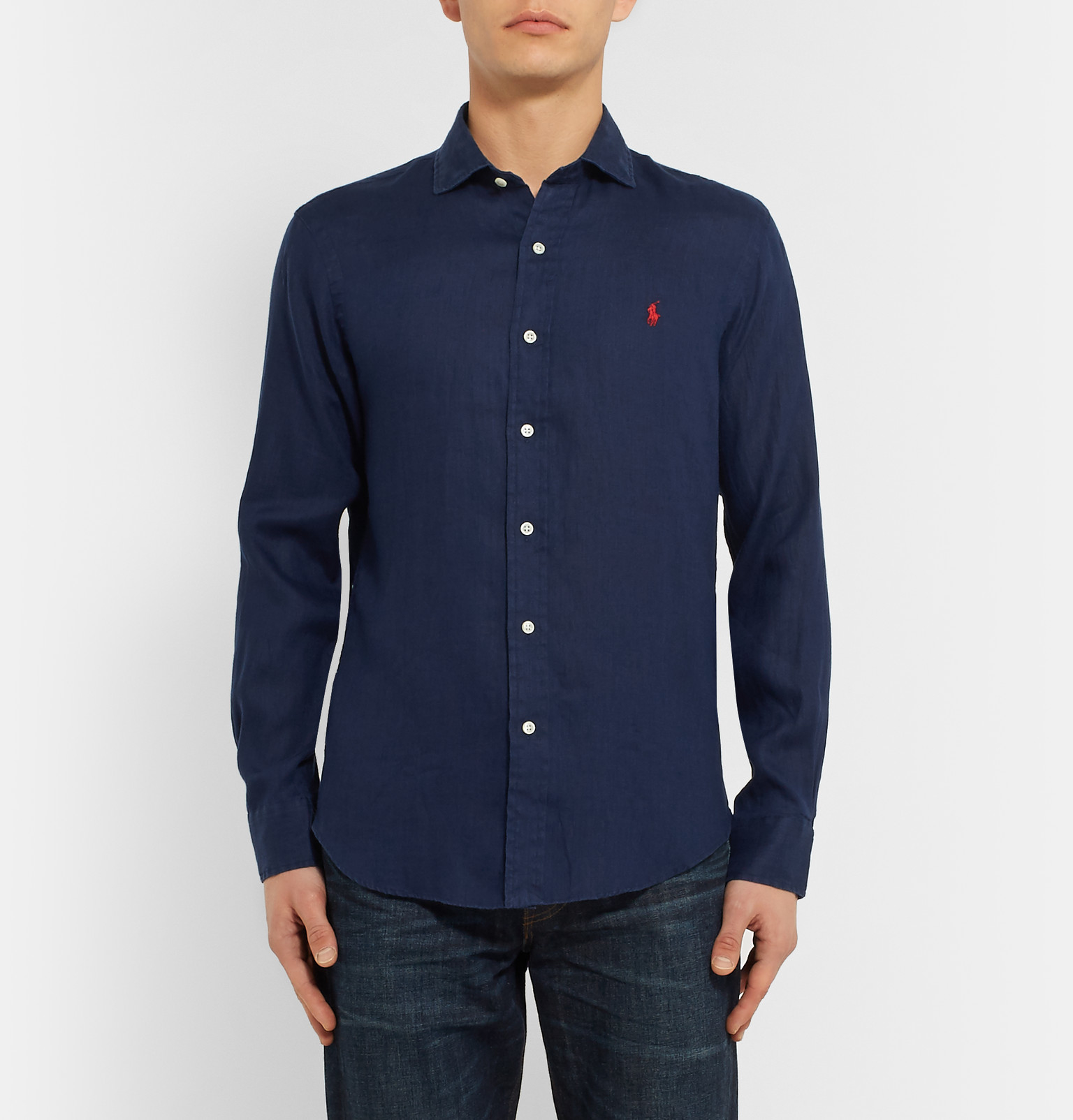 Polo Ralph Lauren Slim Fit Cutaway Collar Linen Shirt In