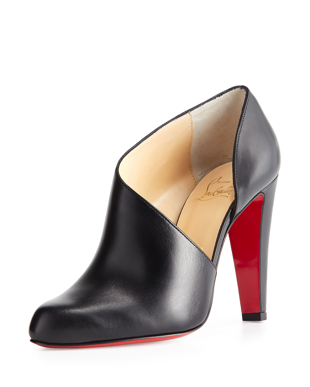 0087a09be8a8 Lyst - Christian Louboutin Half-D Orsay Leather Red-Soled Boots in Black