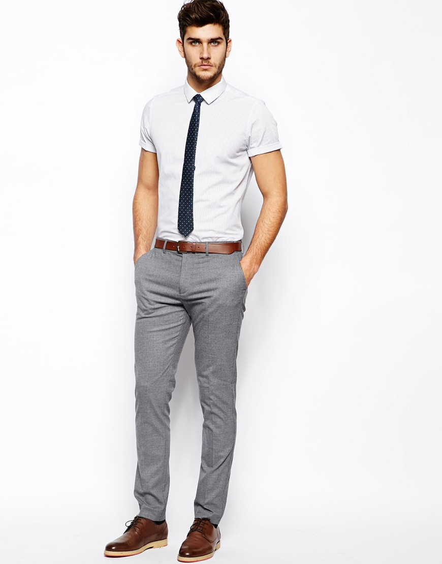 Asos Smart Shirt In Short Sleeve With Wide Pin Stripe In