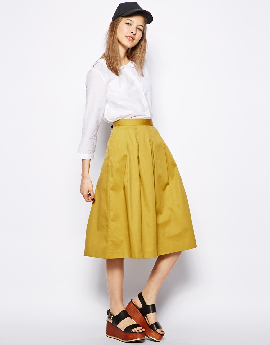 Nw3 by hobbs Lisa Midi Skirt in Yellow | Lyst
