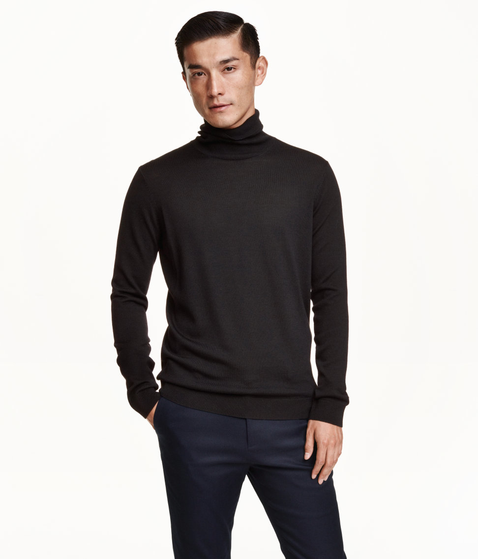 H m merino wool polo neck jumper in black for men lyst for H m polo shirt mens