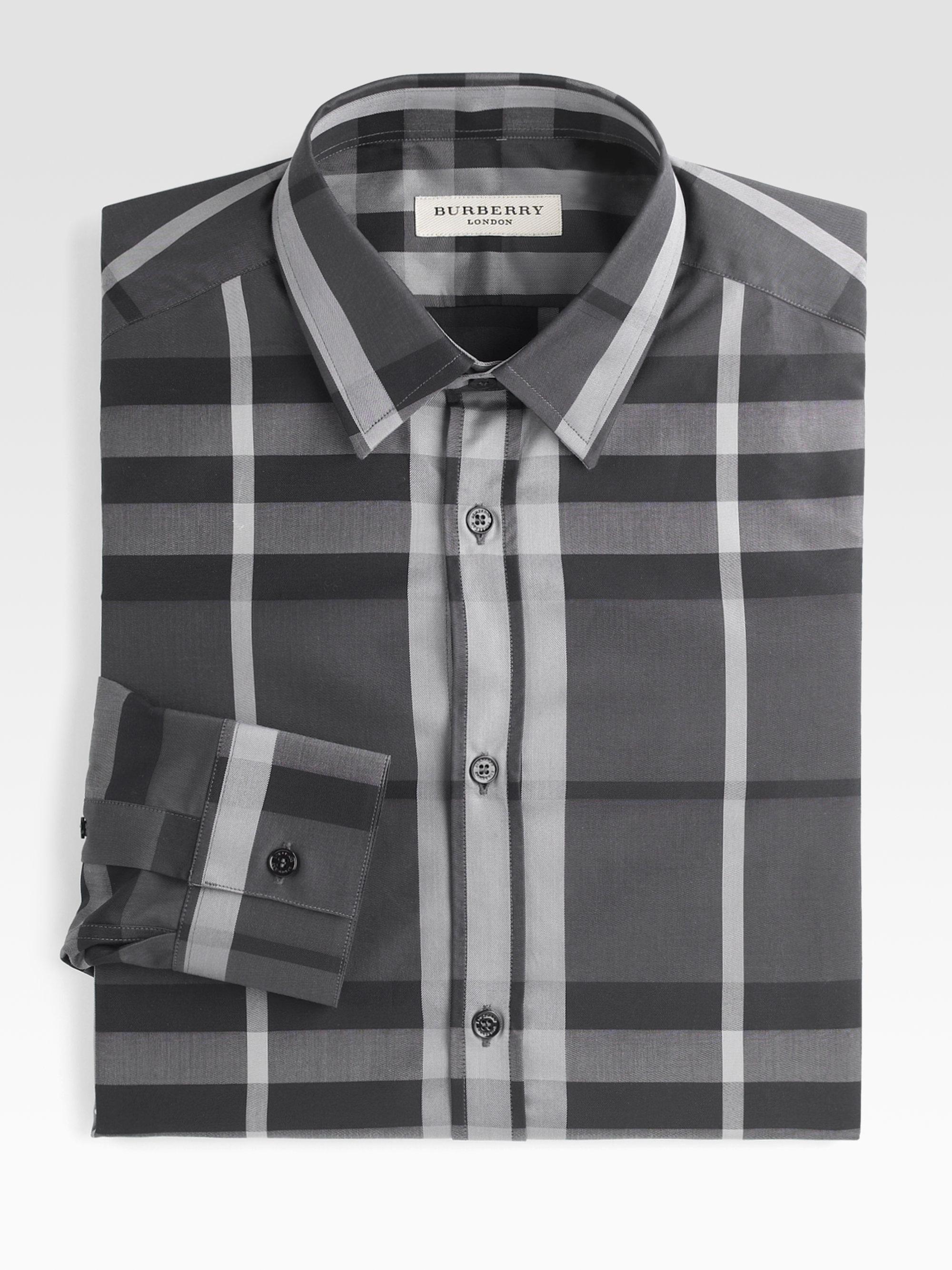 Burberry Treyforth Check Dress Shirt In Blue For Men Ink