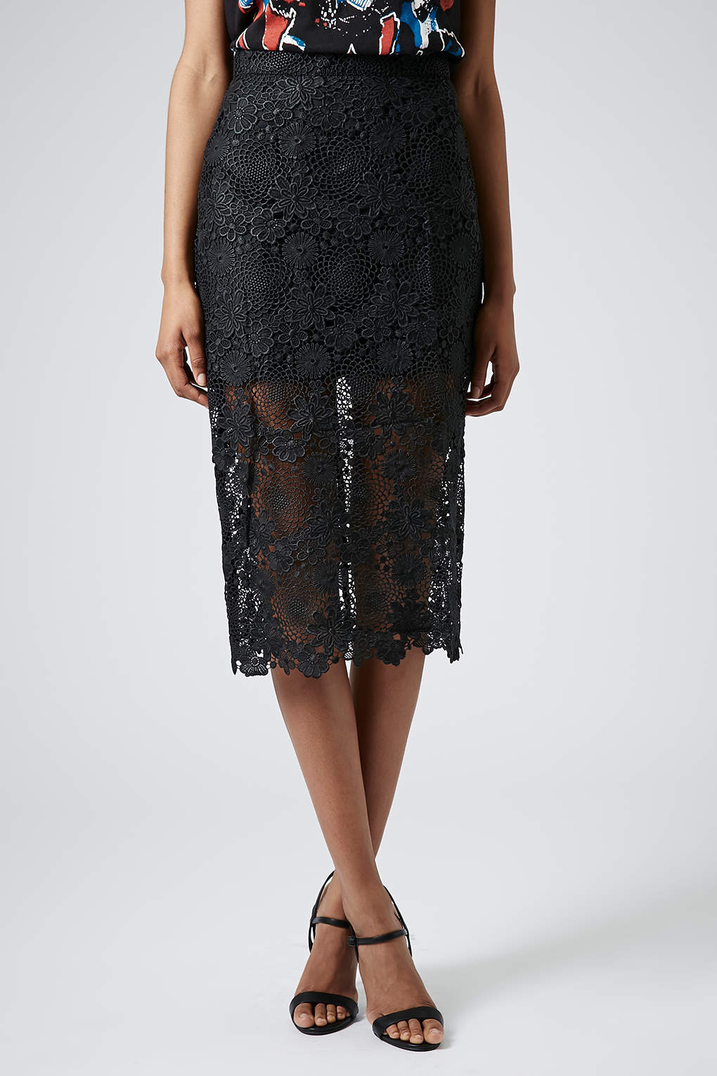 Topshop Lace Pencil Skirt in Black | Lyst
