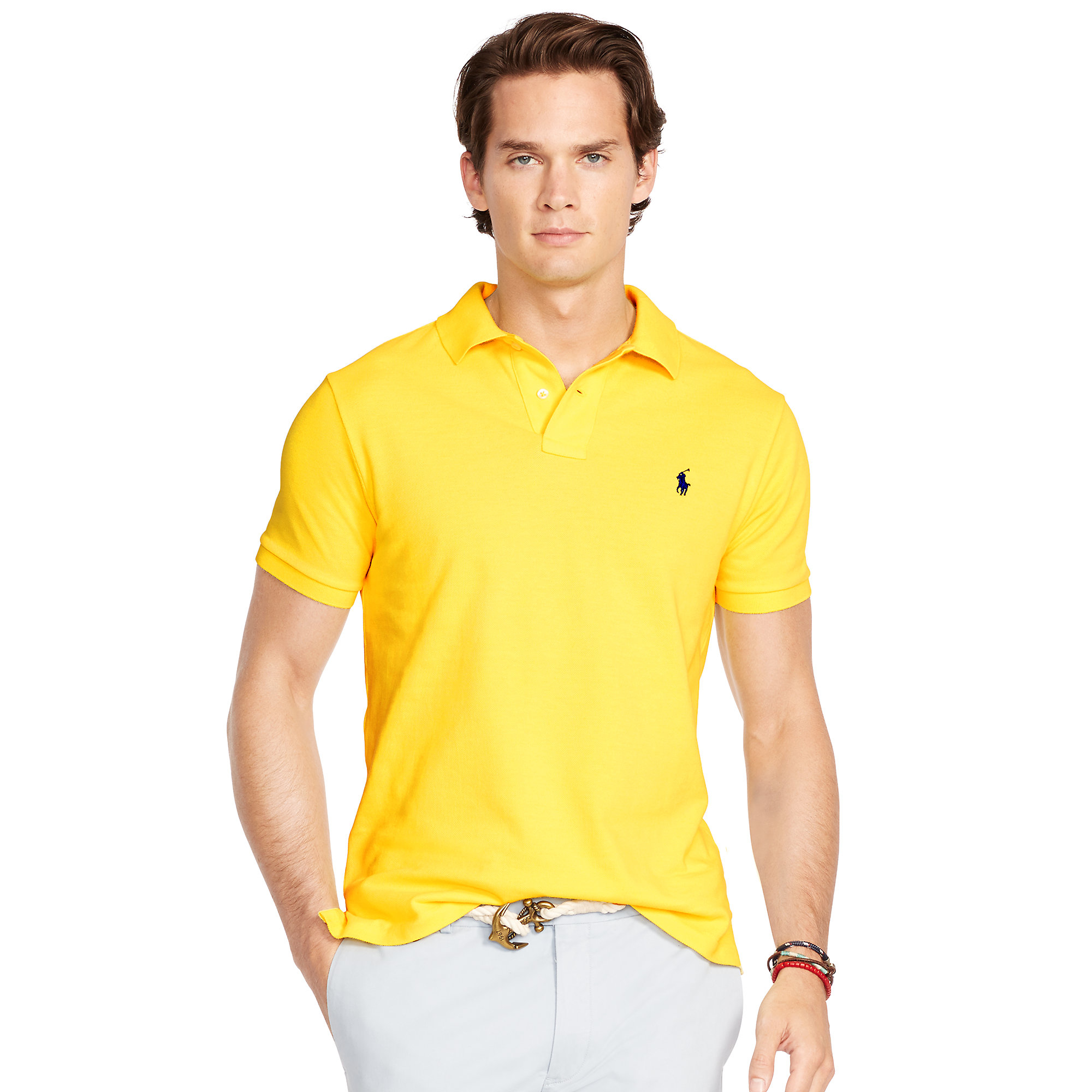 Ralph lauren men custom fit mesh polo light yellow for Mens slim polo shirts