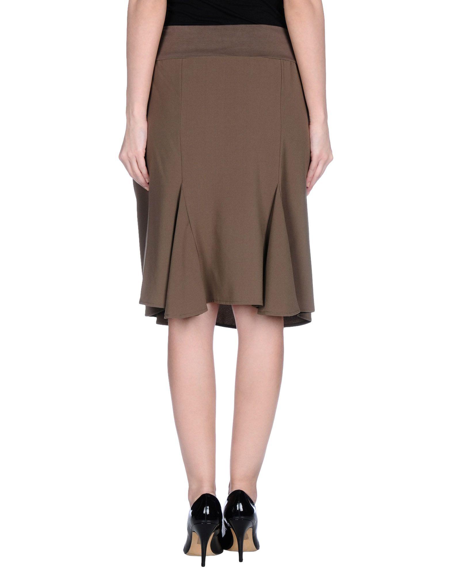 manila grace knee length skirt in khaki lyst