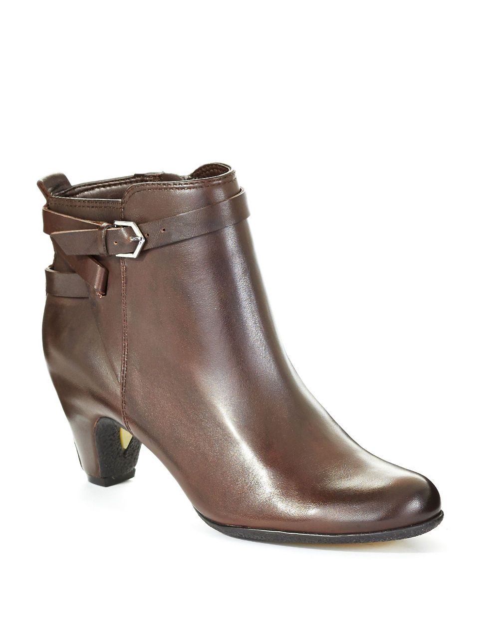 sam edelman maddox leather ankle boots in brown lyst