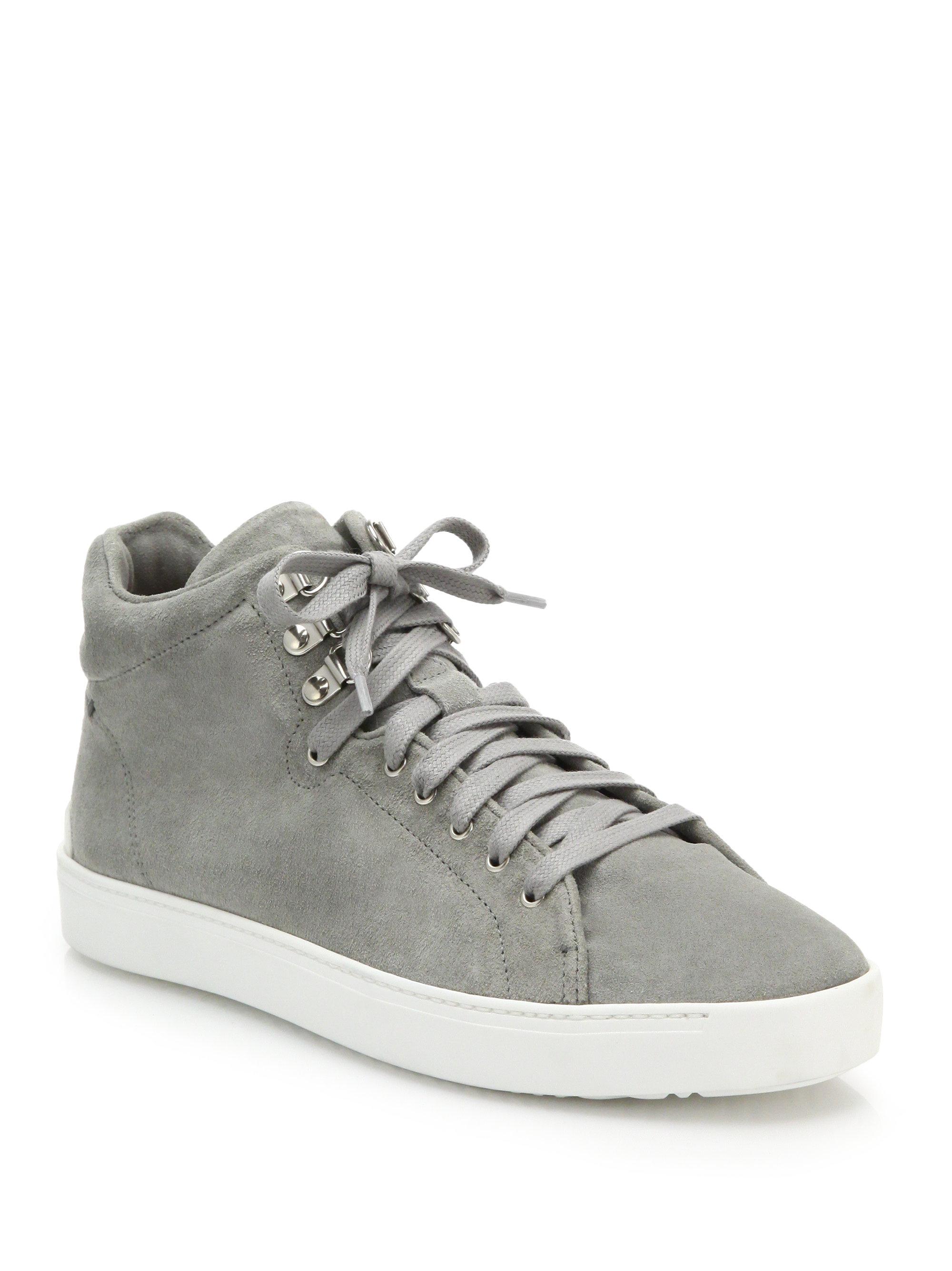 Rag Amp Bone Kent Suede High Top Sneakers In Gray Lyst