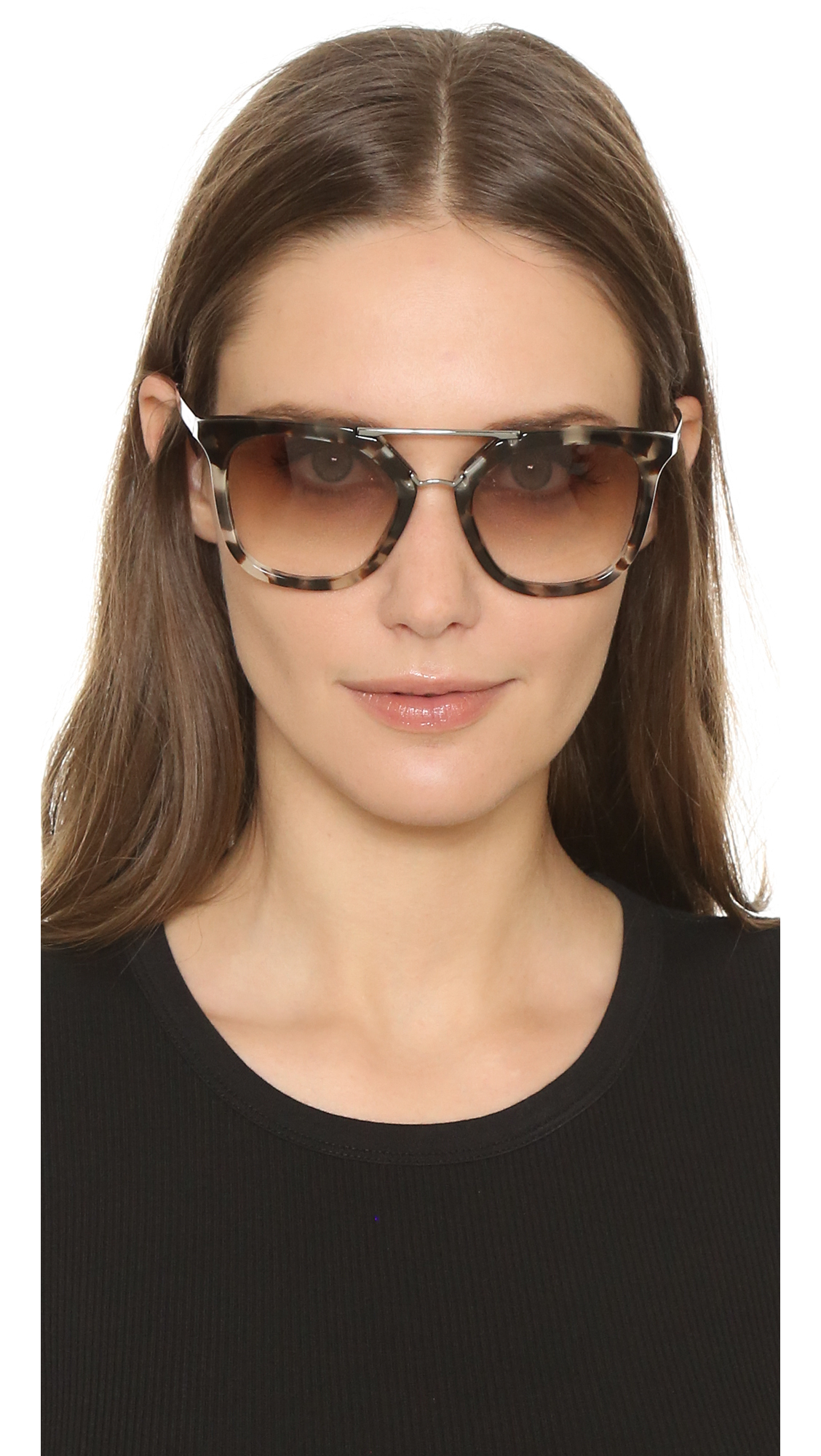 Lyst Prada Thick Frame Aviator Sunglasses In Brown