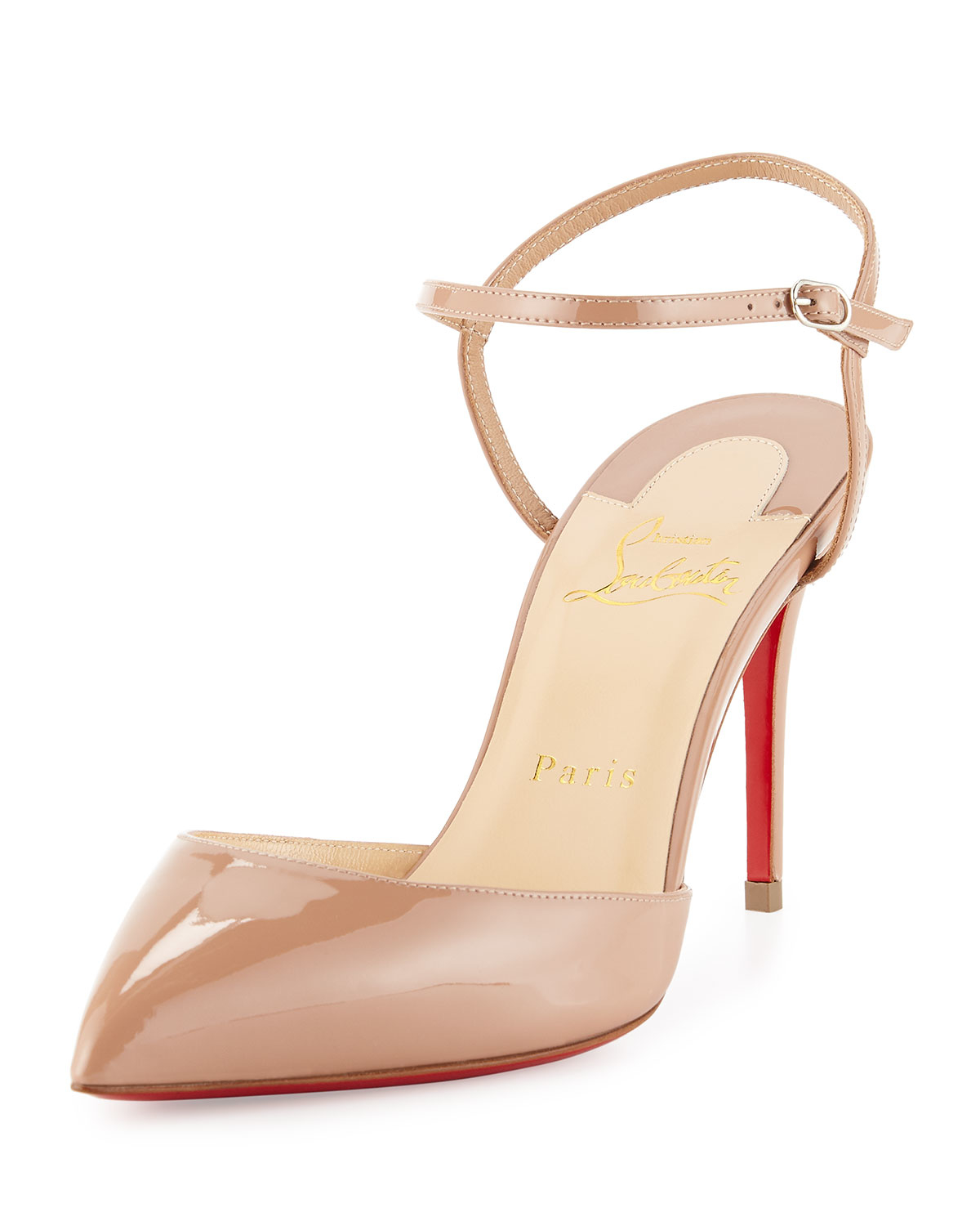 Christian louboutin Rivierina Ankle-Strap Patent Leather Pumps in ...