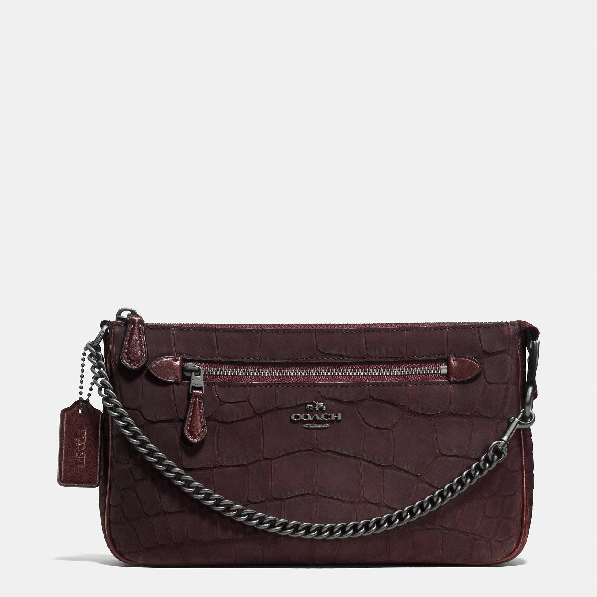 Lyst Coach Nolita Wristlet 24 In Croc Embossed Nubuck In