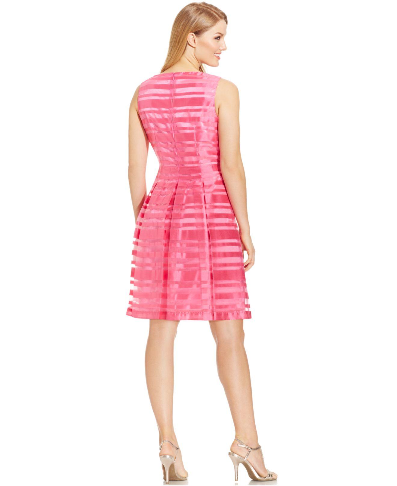 Lyst - Tahari Sleeveless Illusion-stripe Pleated Dress in Pink 2d40afa06