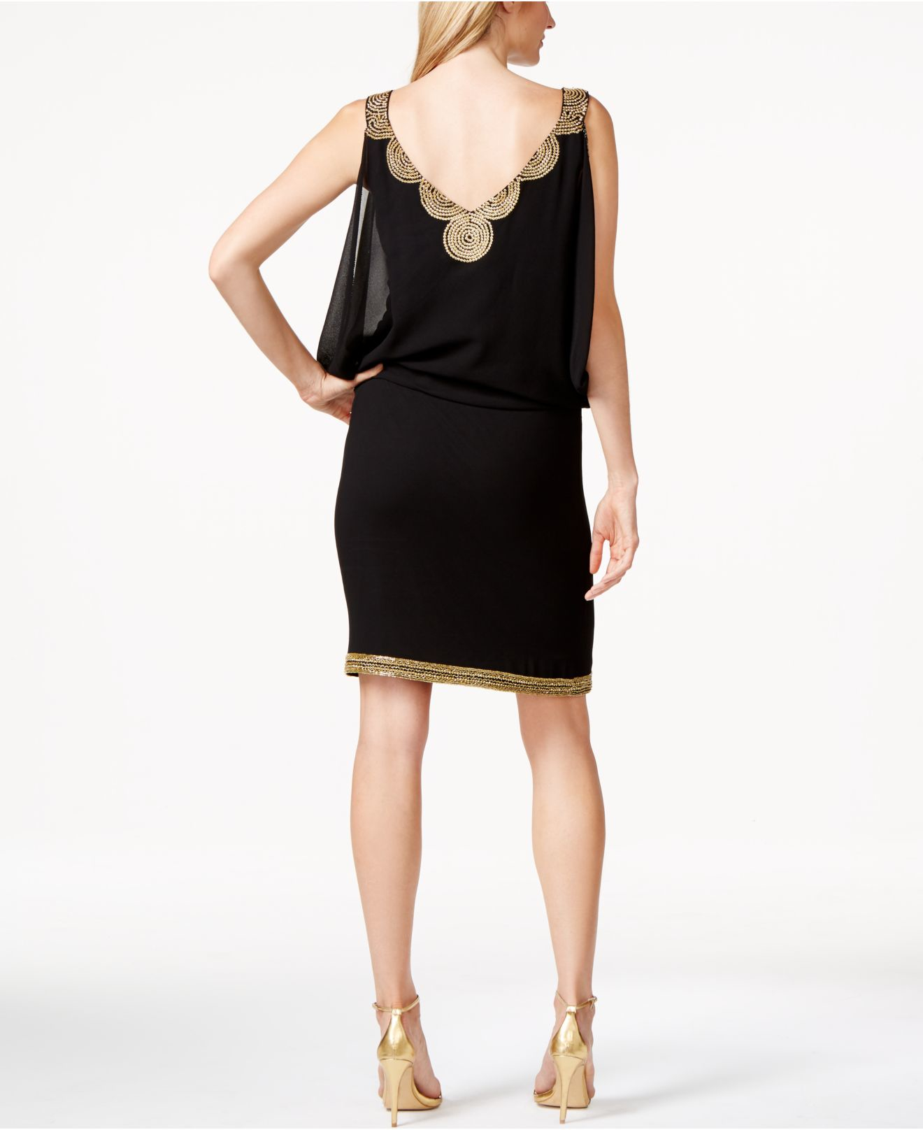 j kara beaded cocktail dress in black lyst