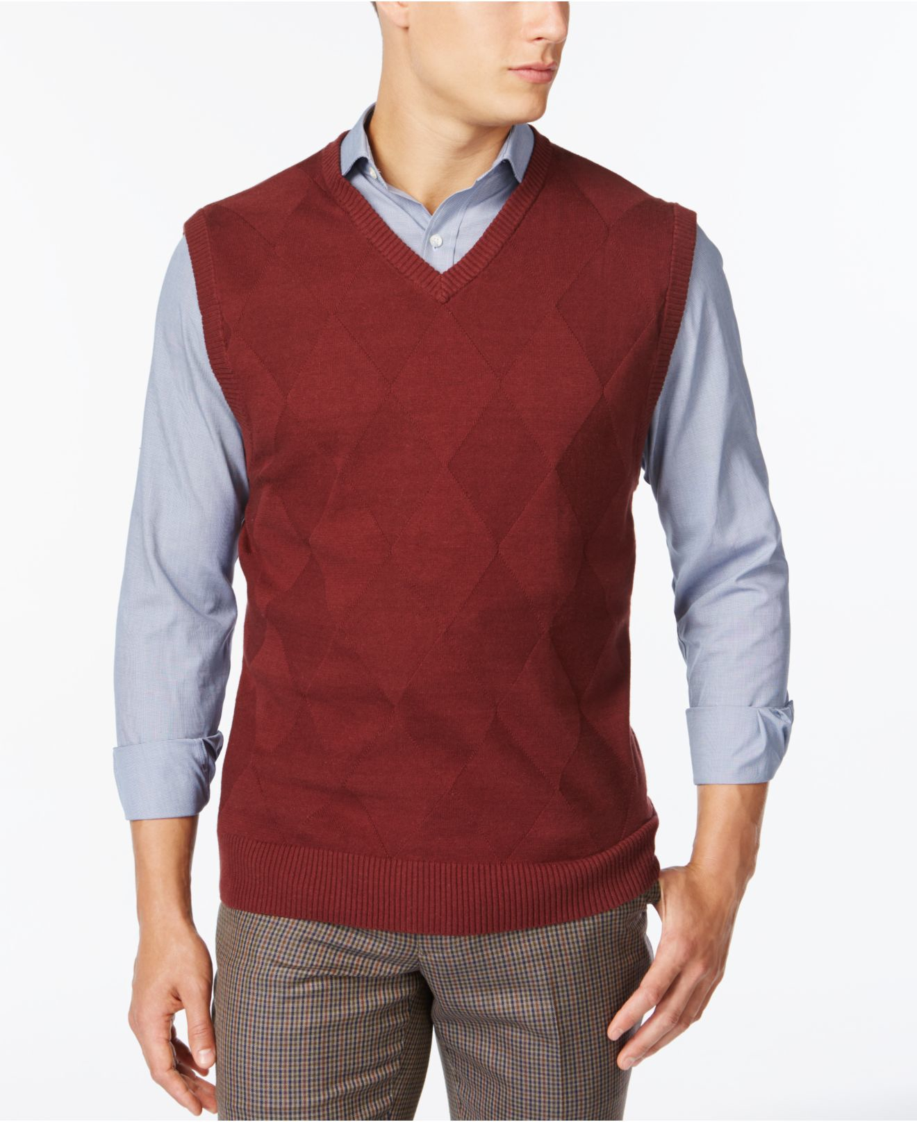 Tricots st raphael Diamond Sweater Vest in Red for Men | Lyst