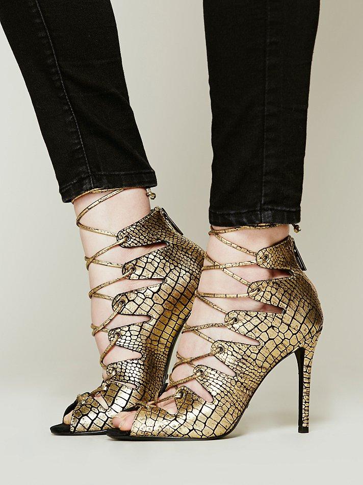 Schutz Slate Lace Up Heel in Metallic | Lyst