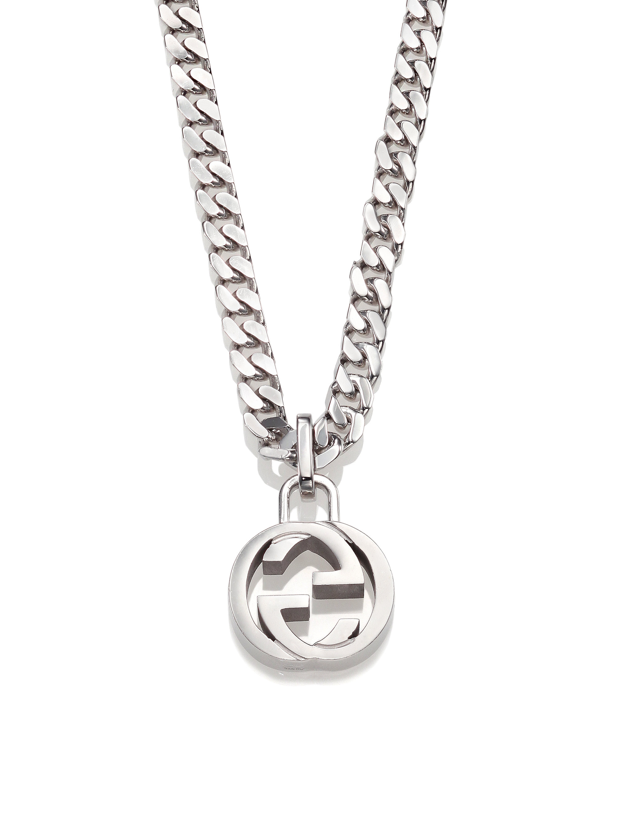 gucci necklace mens. gucci interlocking silver necklace in metallic for men lyst mens e