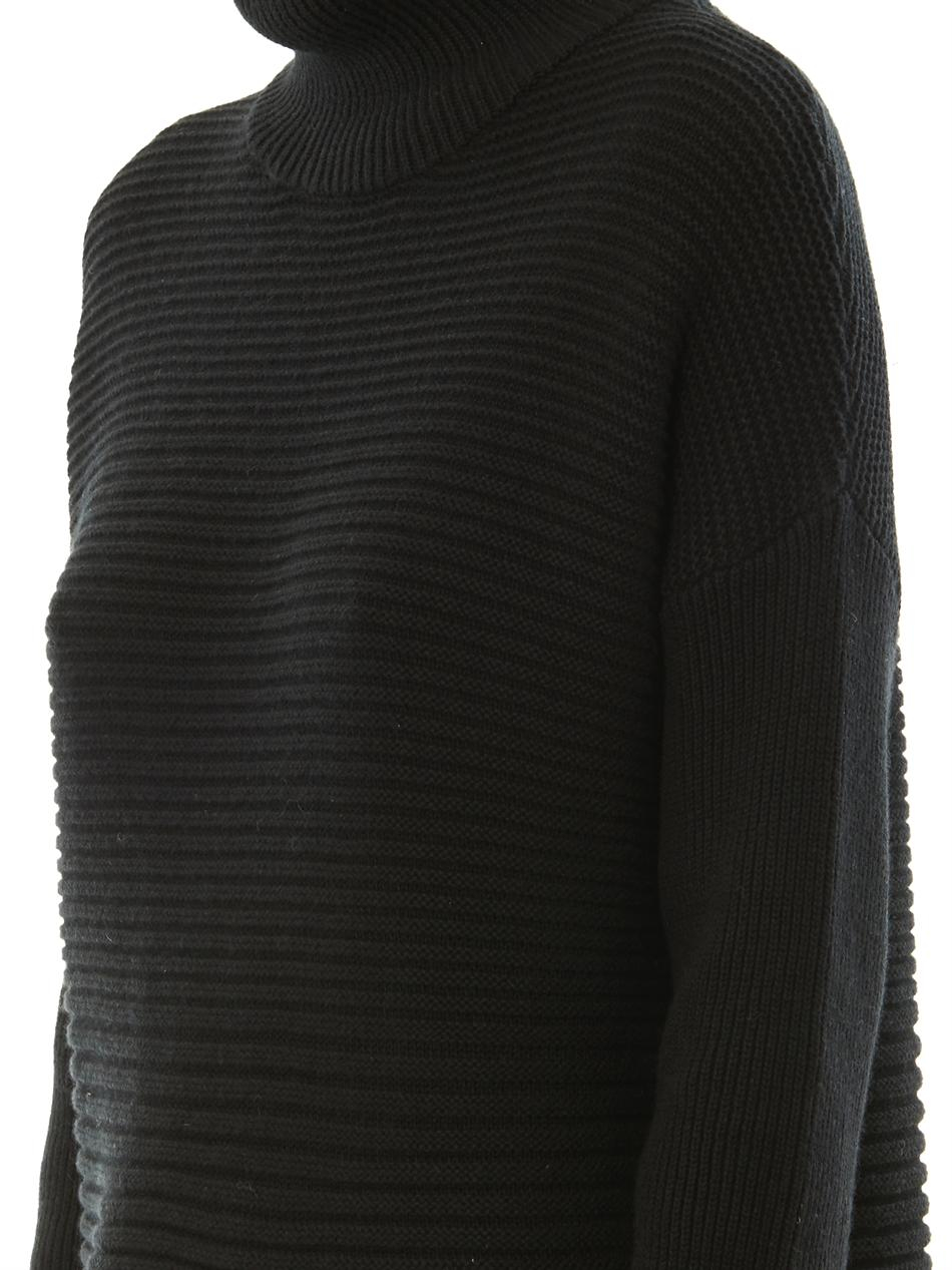Helmut lang Cash Horizontal Ribbedknit Sweater in Black | Lyst