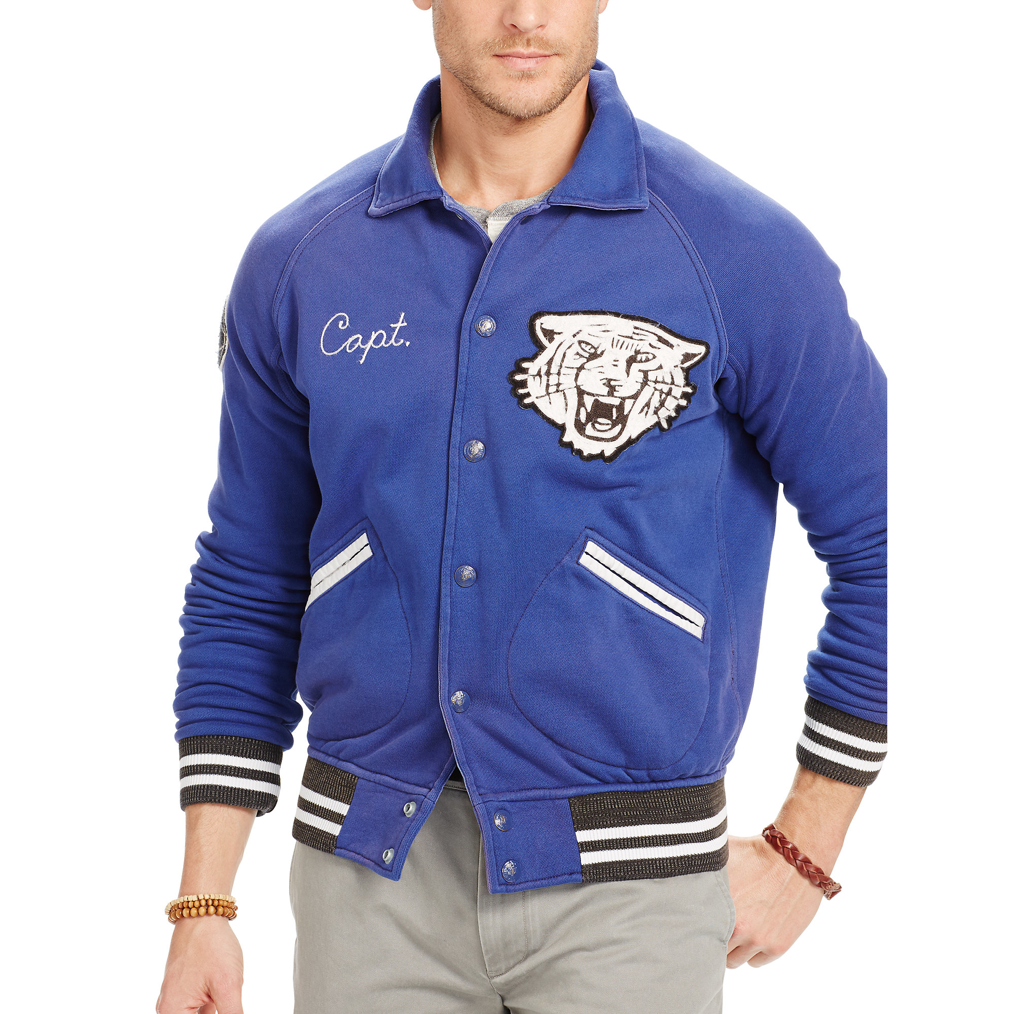 Polo ralph lauren Fleece Baseball Jacket in Blue for Men | Lyst