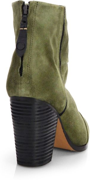 Rag Amp Bone Classic Newbury Waxed Suede Ankle Boots In