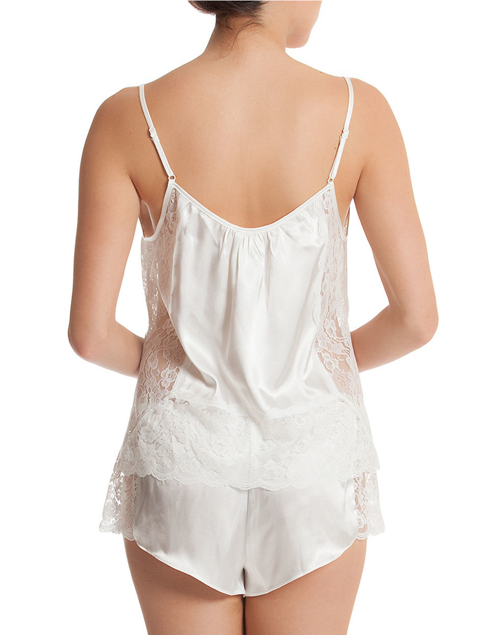 Silk Knit Corset-Style Cami-Boy Shorts Set (Medium-XL) $ $ Women's sexy silk knit camisole top and boy shorts set. Camisole top has a corset-styled front with ruffle trim accenting the cups and front and has adjustable straps. Matching boy shorts have elastic waist with ruffle trim.