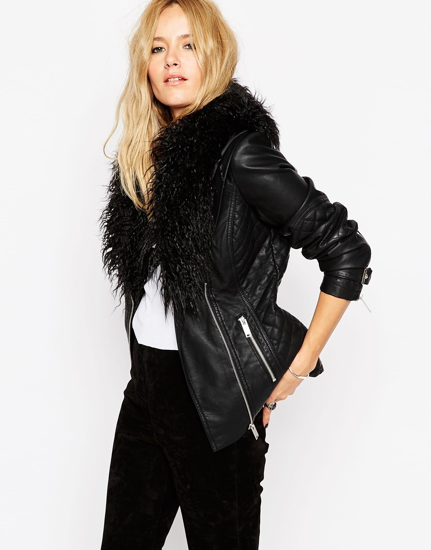 Asos Leather Look Biker Jacket With Oversized Faux Fur Collar in ...