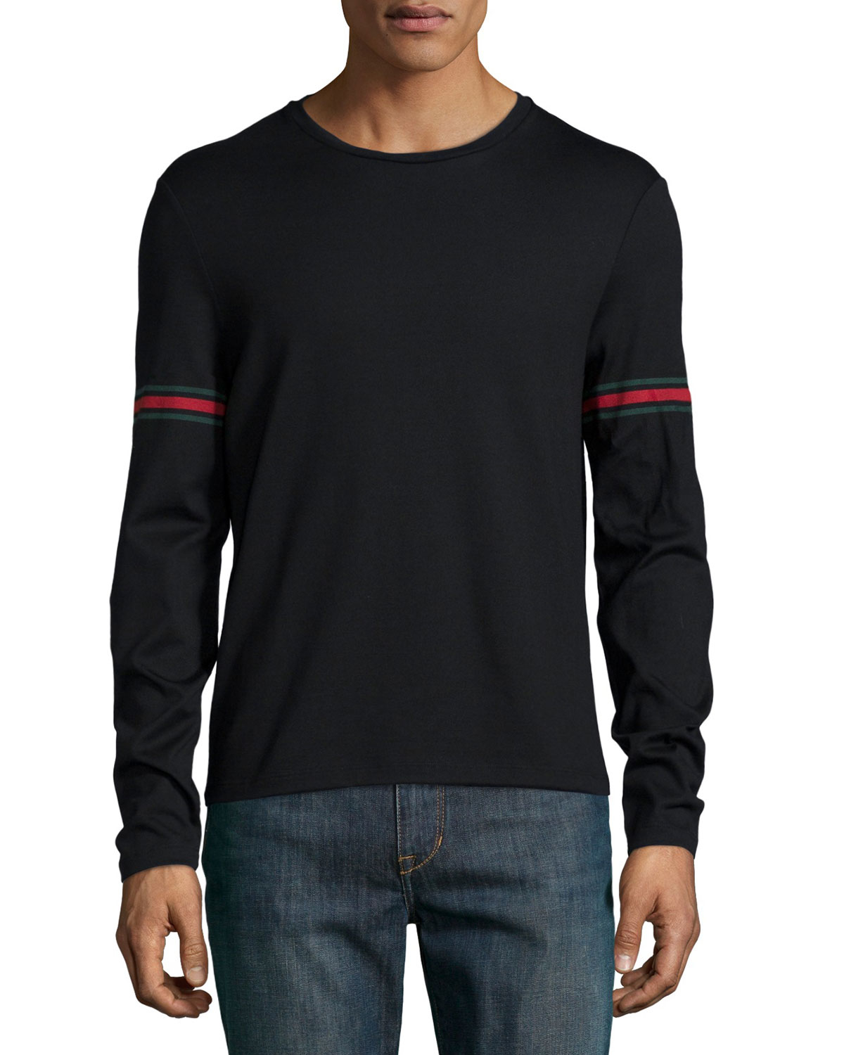 b040d92a9 Gucci Black Long-sleeve T-shirt W/ Green/red/green Arm Band in Gray ...