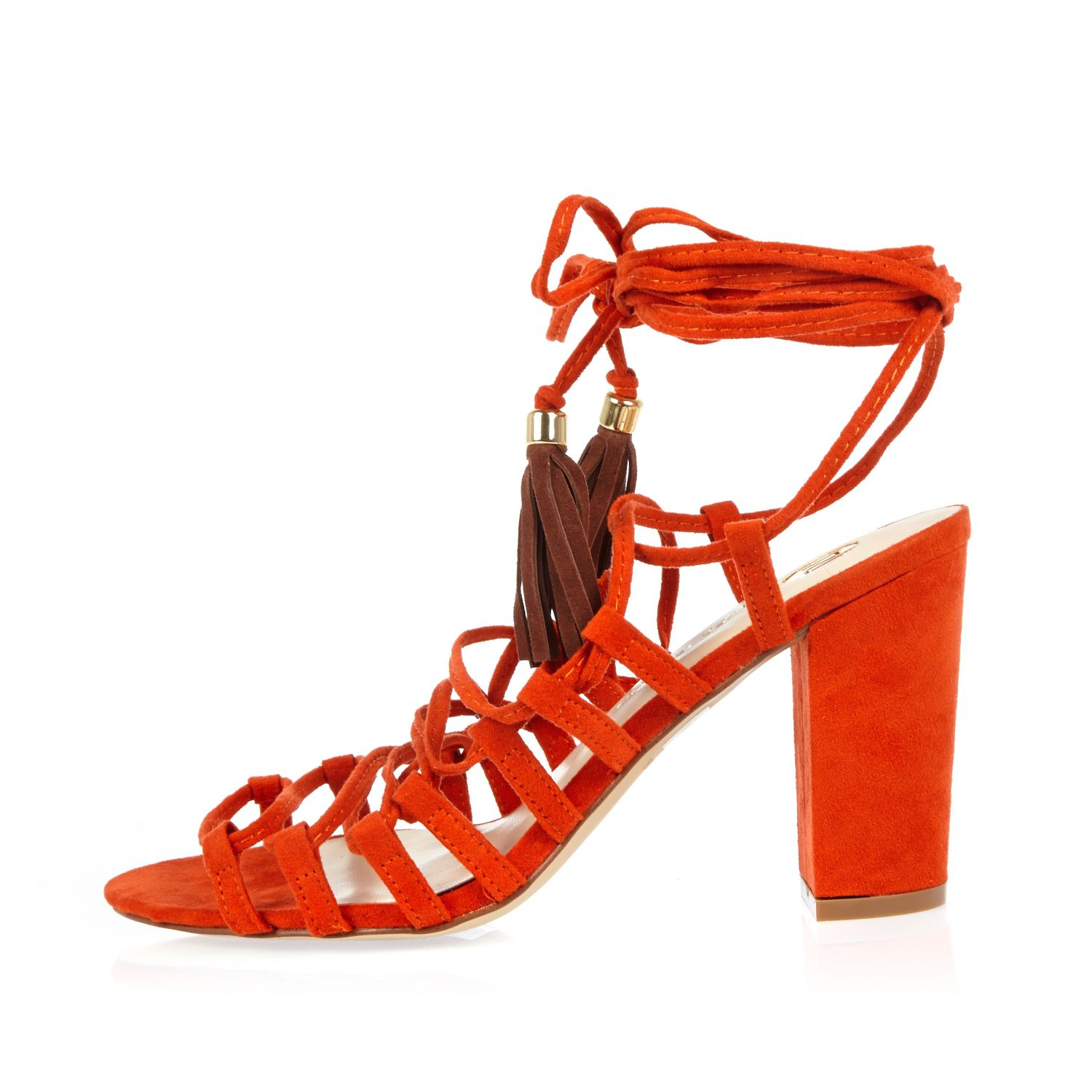 24c66c07046 Lyst - River Island Orange Lace-up Block Heel Sandals in Orange