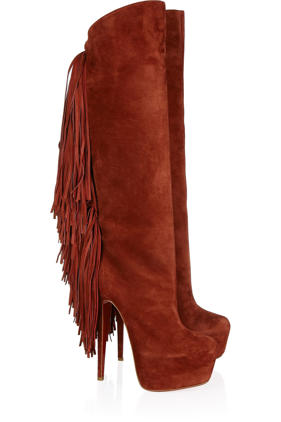68931c634d27 Lyst - Christian Louboutin Interlopa 165 Fringed Suede Knee Boots in Red