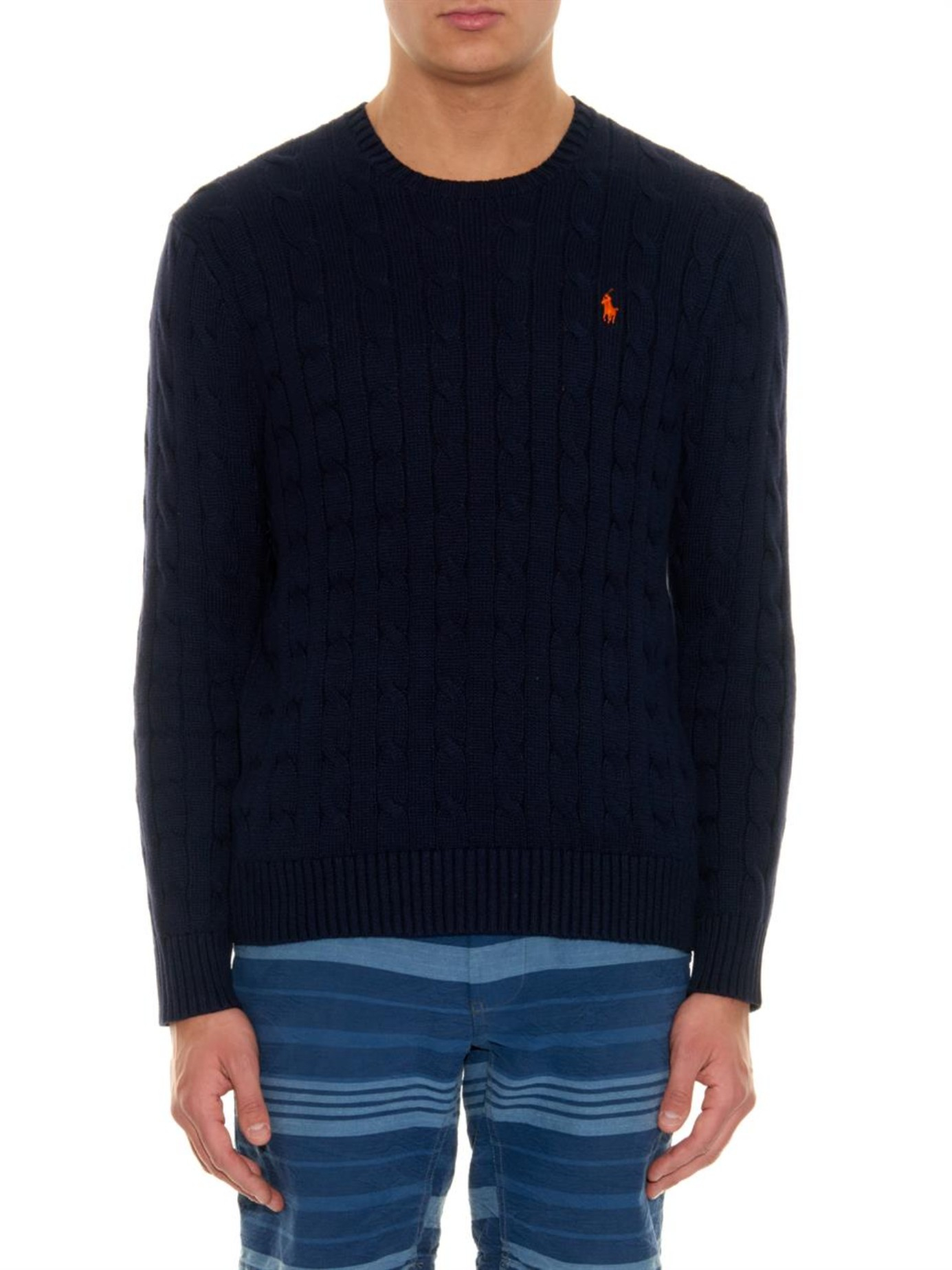 Polo ralph lauren Cable-Knit Cotton Sweater in Blue for Men | Lyst