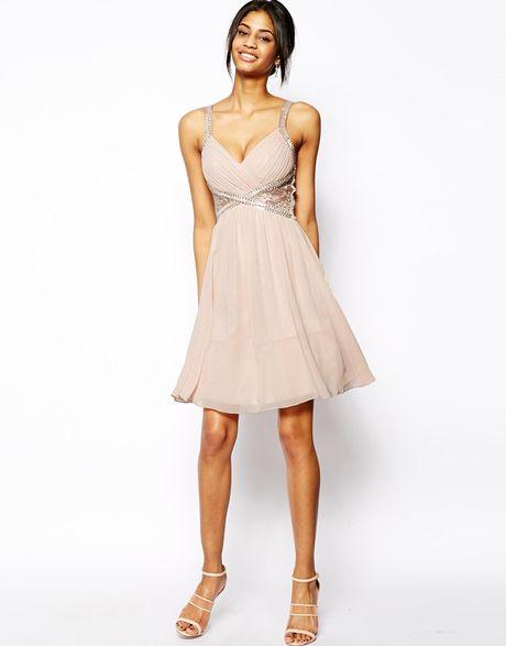 Little Mistress Embellished Plunge Neck Prom Dress With
