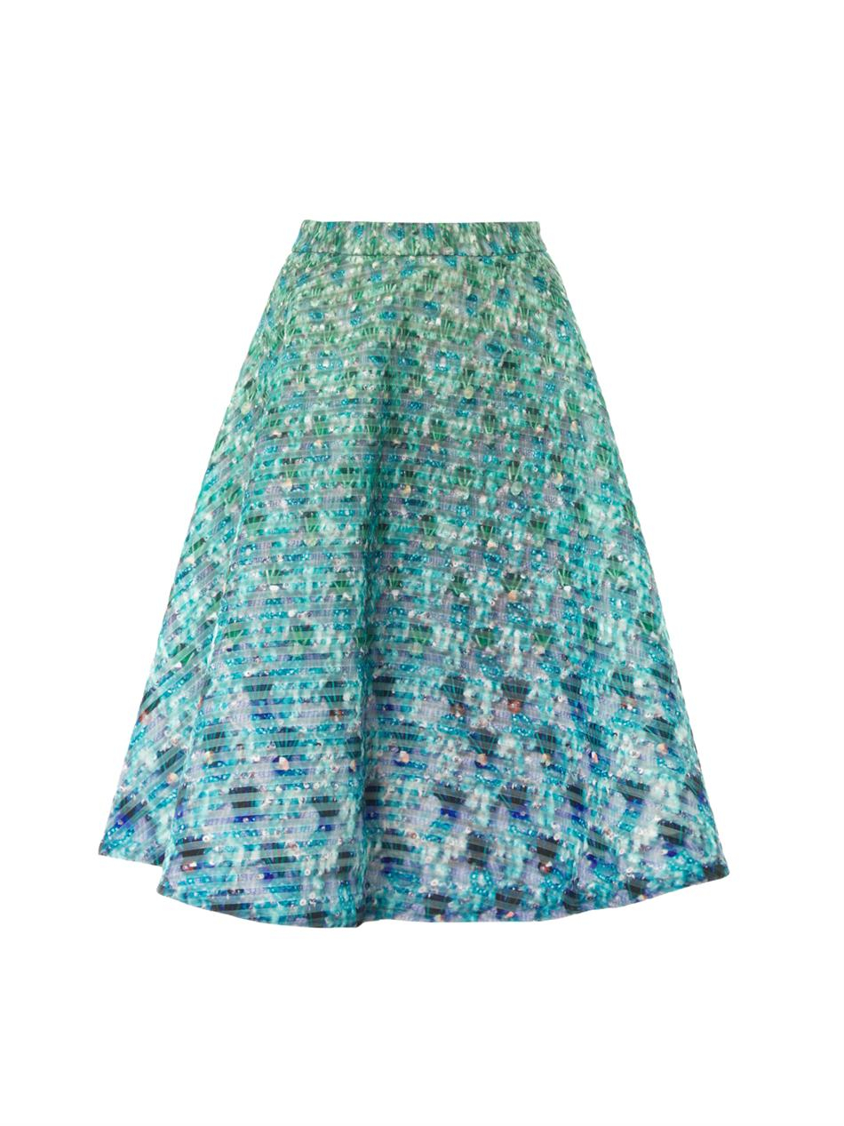 katrantzou babelona jewelprint midi skirt in green lyst