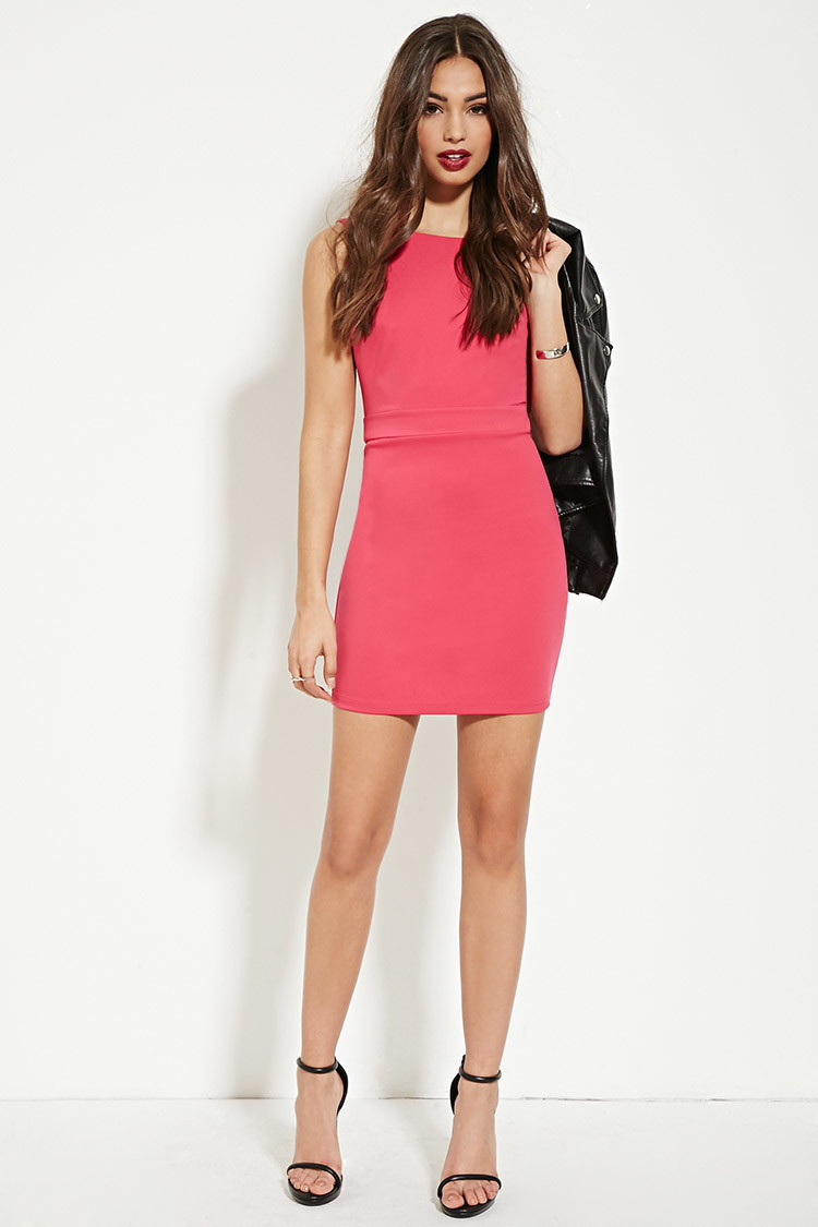 Forever 21 backless sheath dress in pink lyst for Backless wedding guest dresses