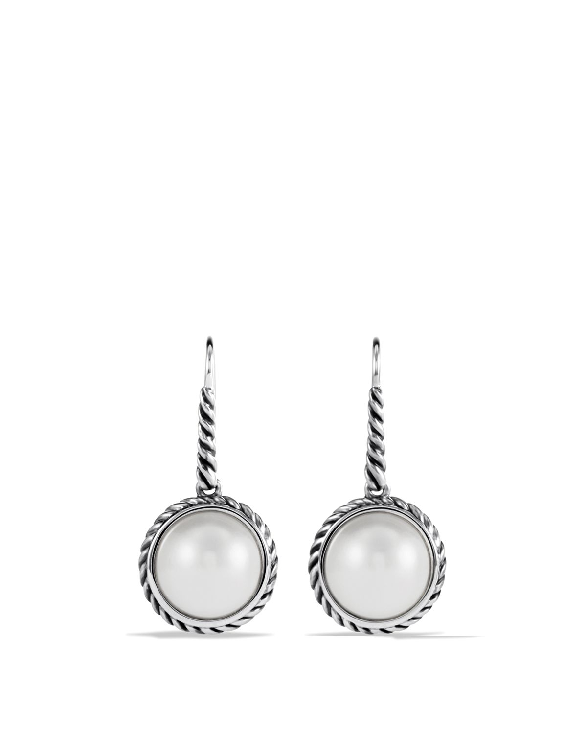 david yurman cable wrap drop earrings with pearls in white