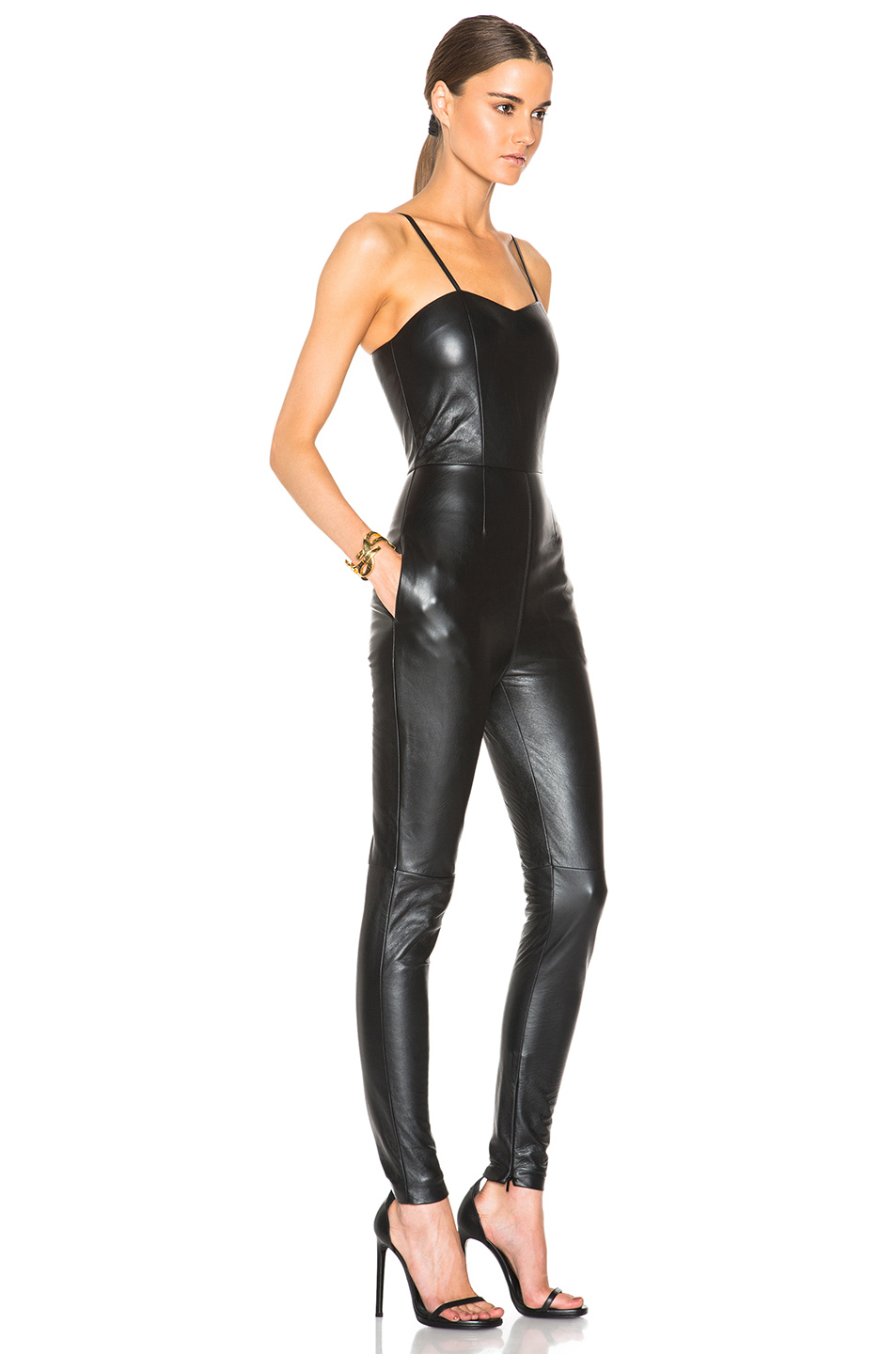 Saint laurent Leather Jumpsuit in Black | Lyst