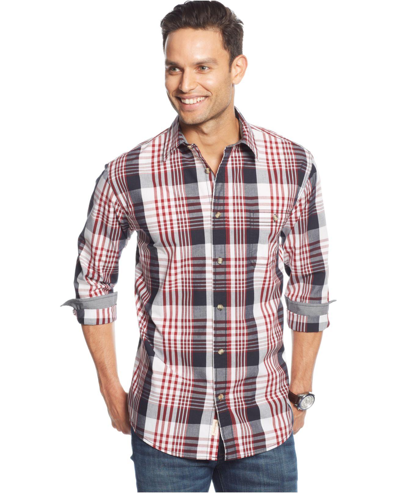 Lyst weatherproof vintage poplin big plaid shirt in blue for Weatherproof vintage men s lightweight flannel shirt