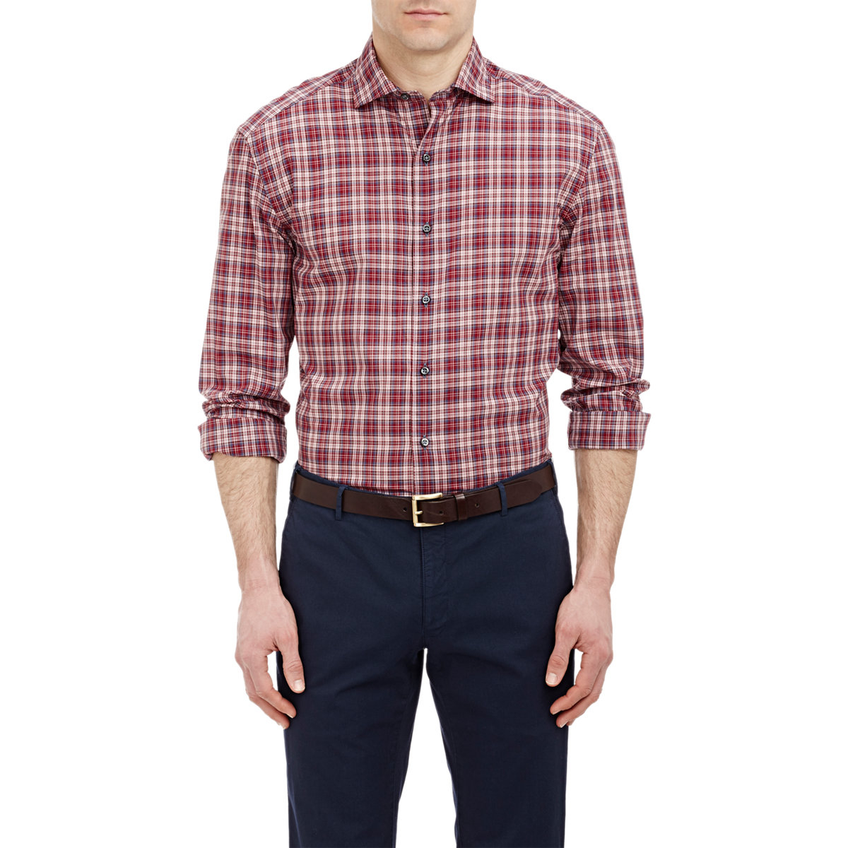 Barneys new york poplin shirt in red for men lyst for New york and company dress shirts
