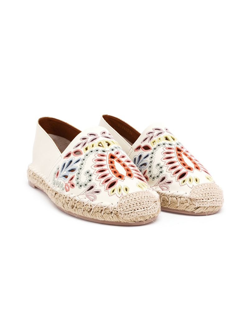 Valentino Embroidered Leather Espadrilles In Natural Lyst