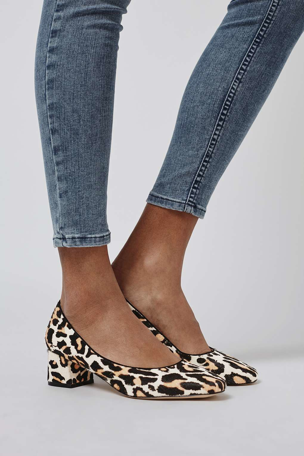 Topshop Juliette Pony Leather Mid Heel Shoes In Animal