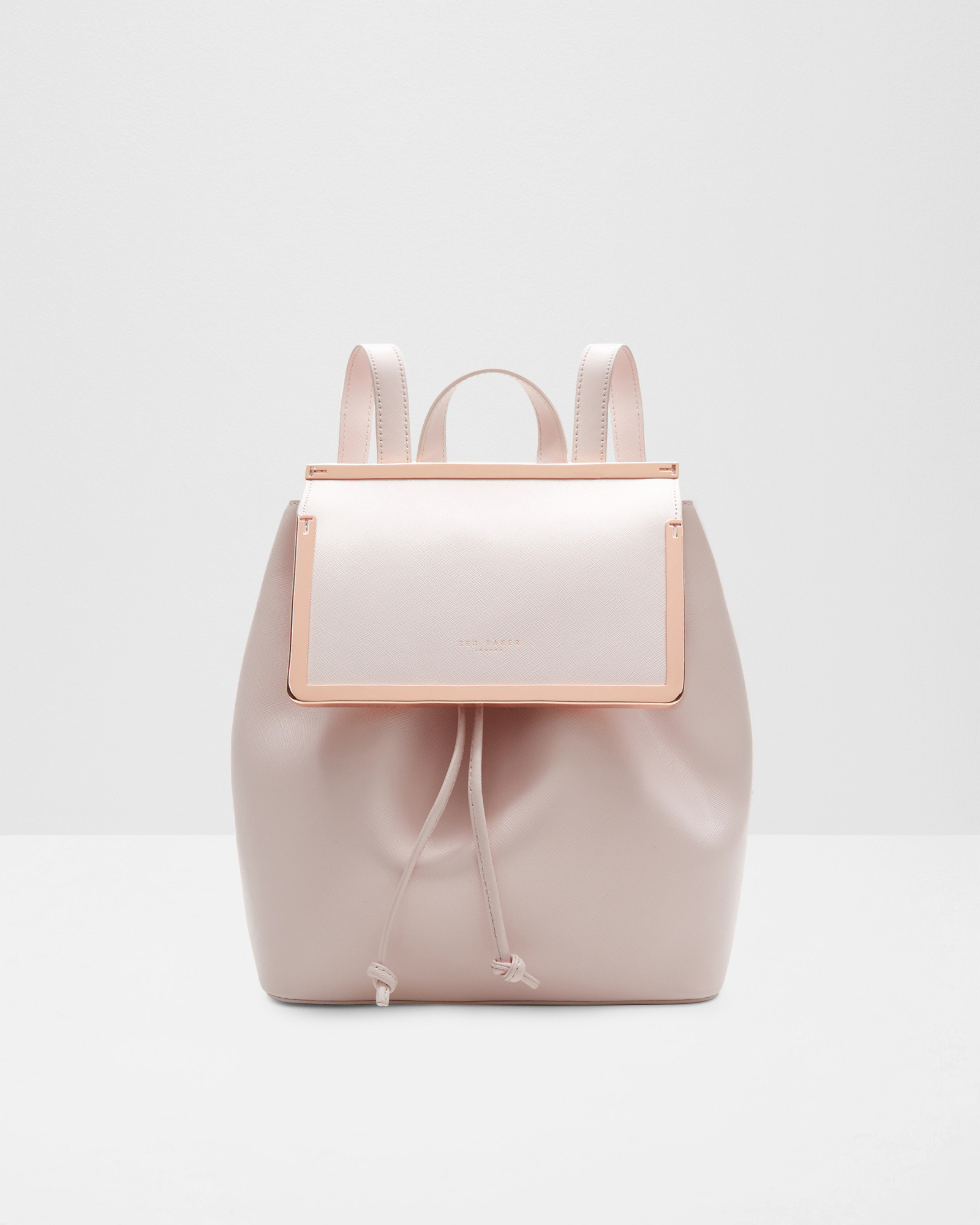 Ted Baker Metal Bar Leather Backpack In Pink Baby Pink