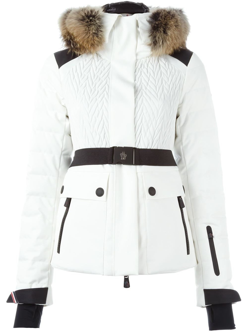 df8e10923 Moncler Grenoble Coyote Fur Trim Padded Jacket in White - Lyst