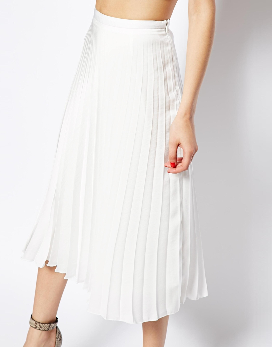 Asos Pleated Midi Skirt in White | Lyst