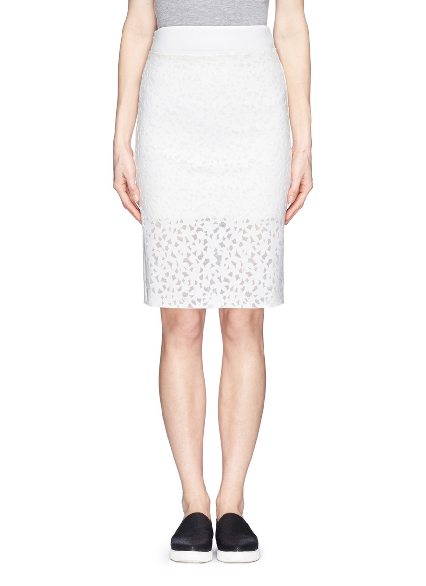 6a226866fbc Lyst - Edition10 Floral Cutout Pencil Skirt in White
