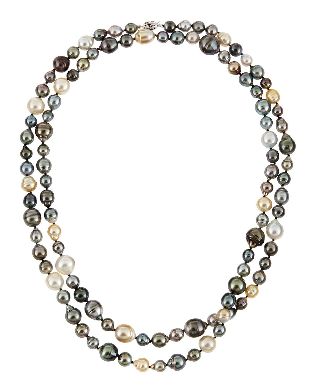 Belpearl 18k Long Multicolor Pearl Necklace, 50L