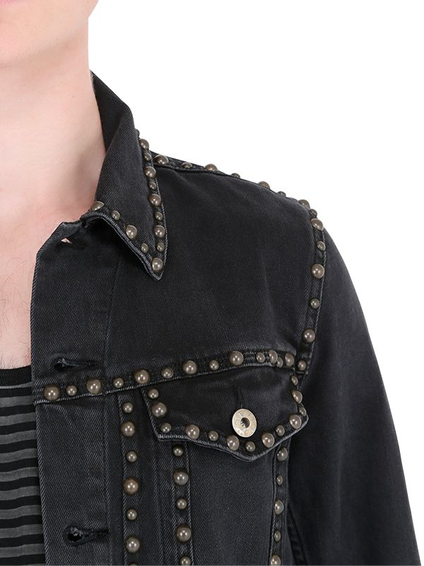 Lyst - Diesel Studded Soft Stretch Denim Jacket In Black -7938